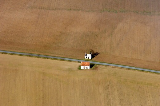 Fields Cereals and Loges de Vignes Centre France : Stock Photo