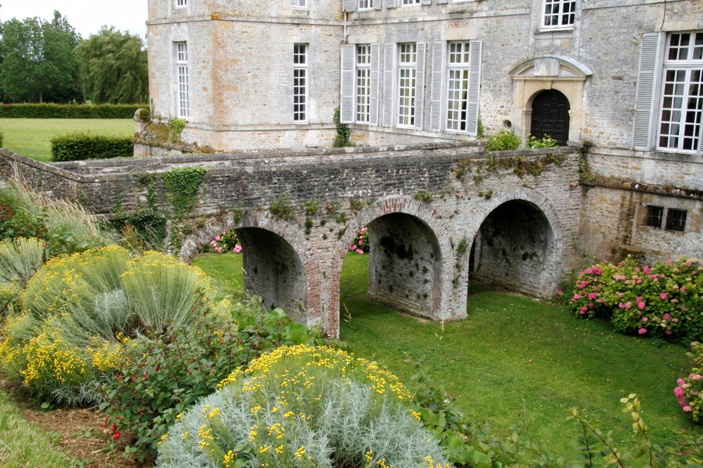 Floral garden of Château de la Motte in the Calvados France : Stock Photo