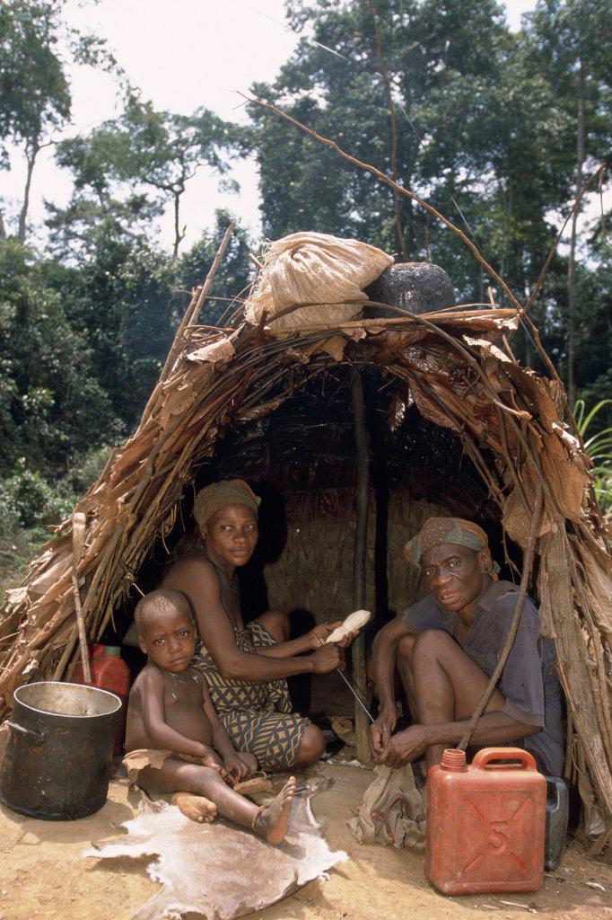 Stock Photo: 4413-3943 Pygmies Camp of gold washing Reserves of Minkebe Gabon