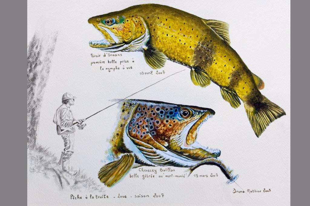 Painting of fishing for Brown Trout in the Loue Doubs : Stock Photo