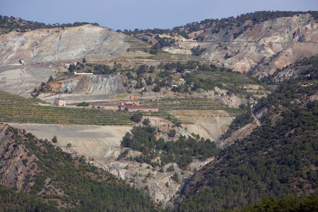 Stock Photo: 4413-40845 Asbestos abandoned mine during reforestation Cyprus
