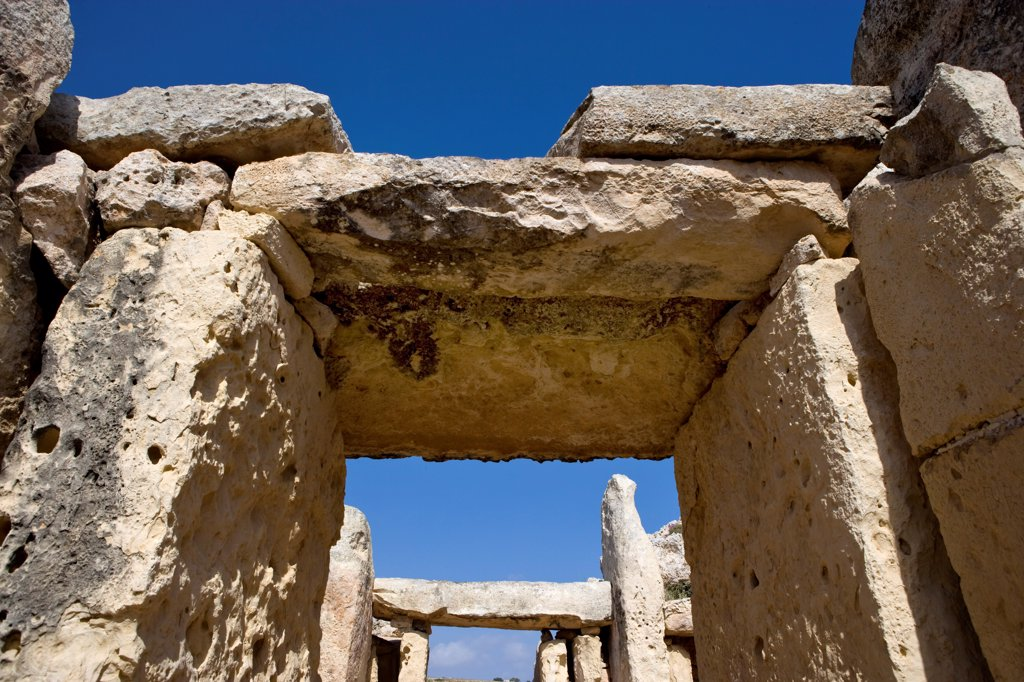 Neolithic temples of Hagar Qim and Mnajdra Malta : Stock Photo
