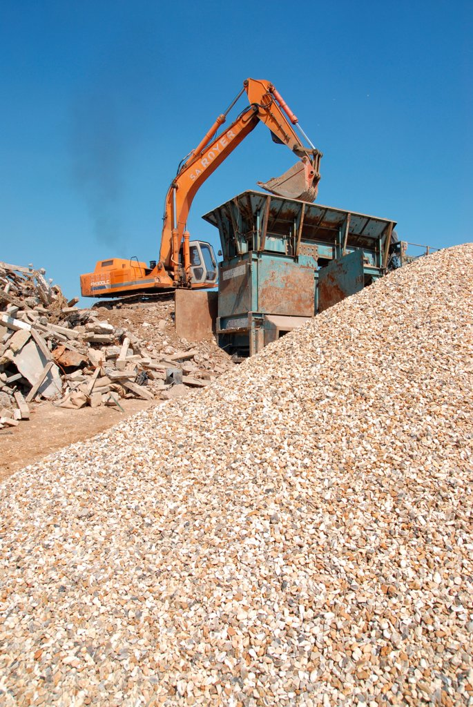 Rubble recycled into gravel : Stock Photo