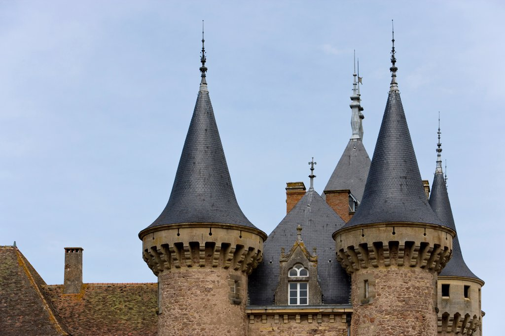 Stock Photo: 4413-43656 Slate roofs of the Clayette Castle Bourgogne France