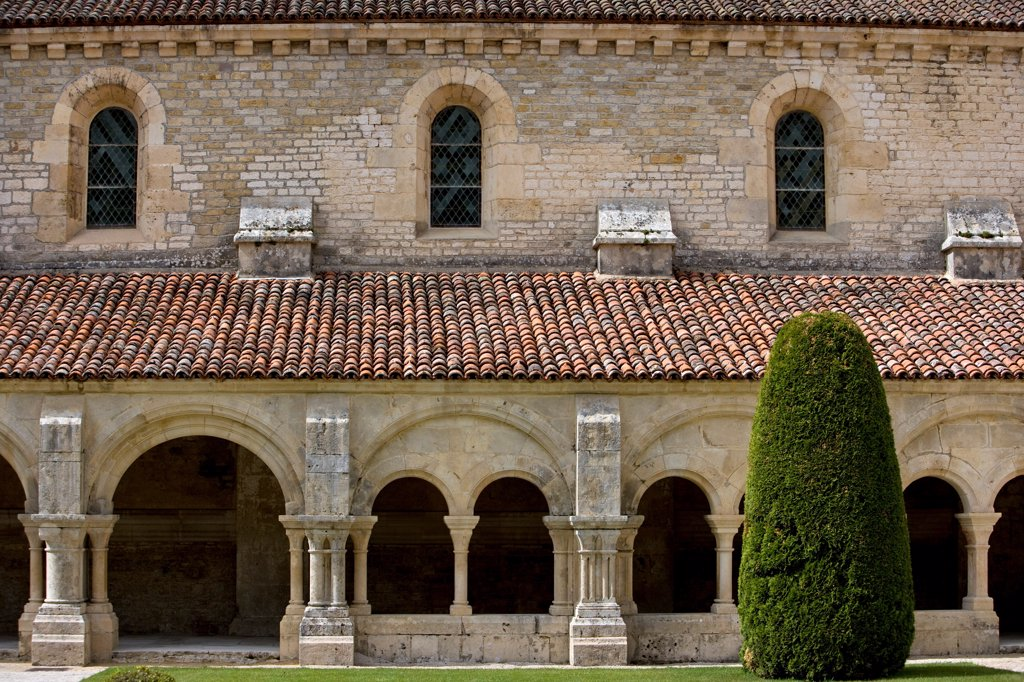 Roman cloister at the Fontenay Abbey Bourgogne France : Stock Photo