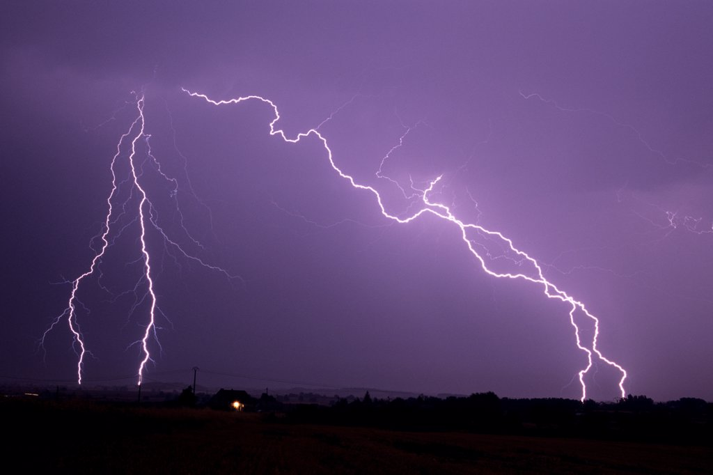 Stock Photo: 4413-54132 Lightning strikes at night in summer Allier France