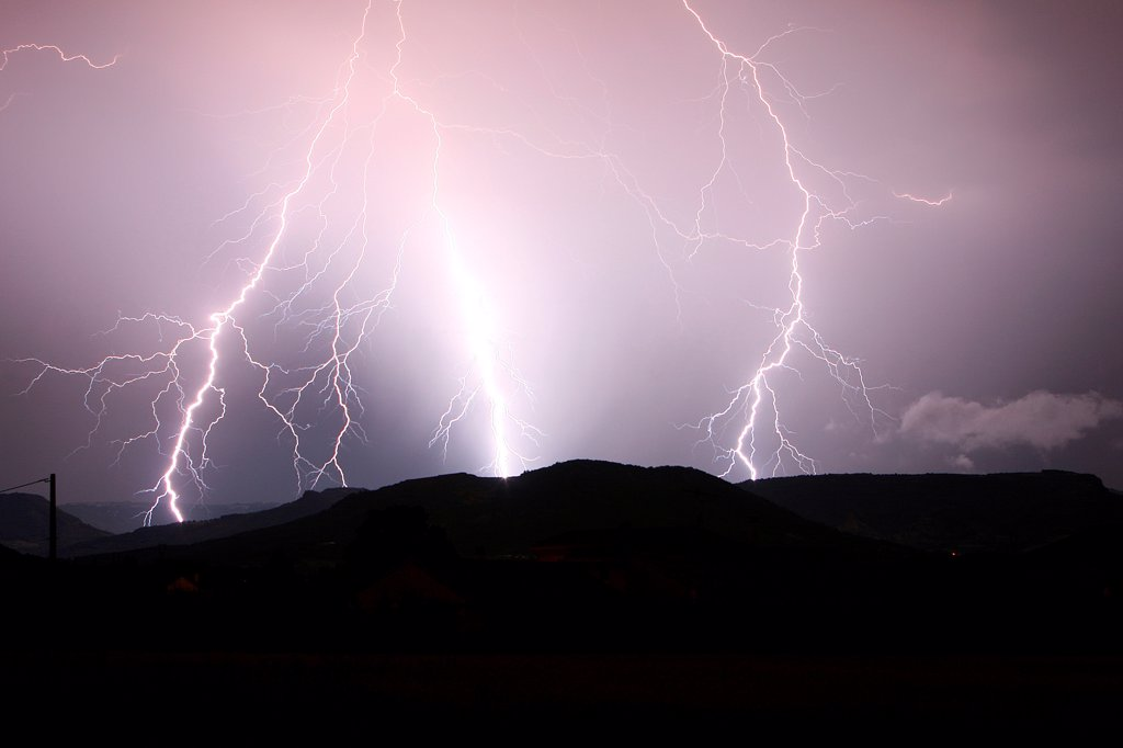 Stock Photo: 4413-54298 Triple branched lightning strike on Monts d'Ardèche France