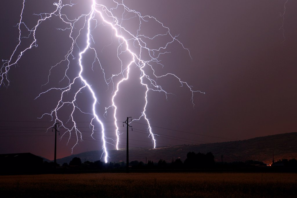 Stock Photo: 4413-54302 Branched lightning strikes on the Monts d'Ardèche France