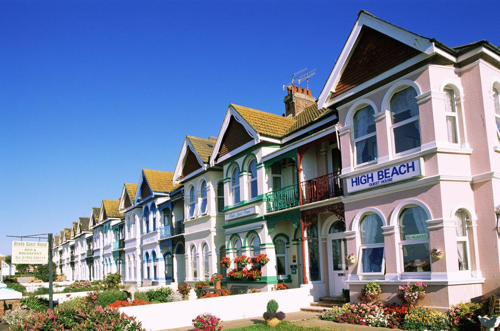 Buildings in a row, Worthing, England : Stock Photo
