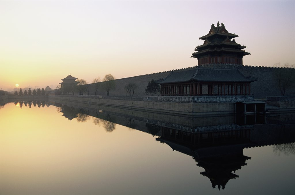 Reflection of a fort in a lake, Forbidden City, Beijing, China : Stock Photo