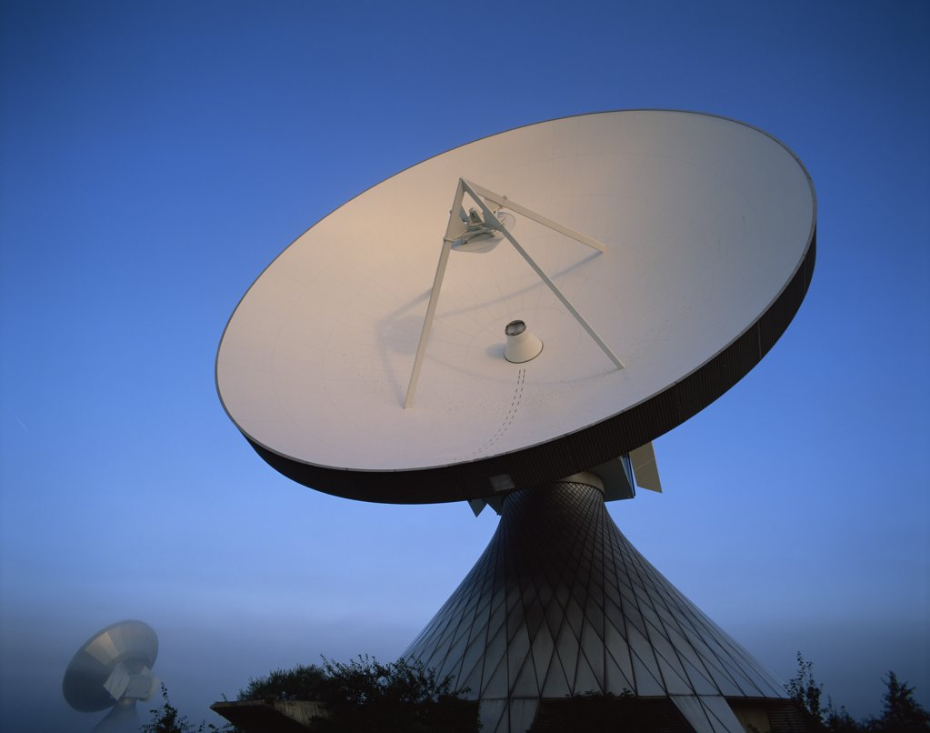 Stock Photo: 442-10232 Low angle view of a satellite dish, Satellite Communications Station, Raisting, Bavaria, Germany