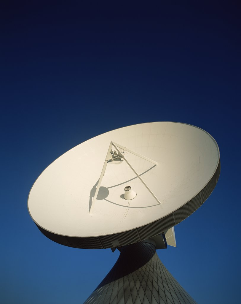 Stock Photo: 442-10233 Low angle view of a satellite dish, Satellite Communications Station, Raisting, Bavaria, Germany