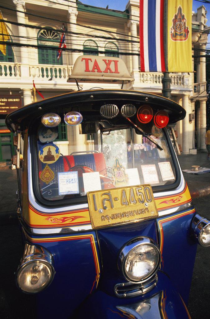 Stock Photo: 442-10297 Close-up of a tuk-tuk, Bangkok, Thailand