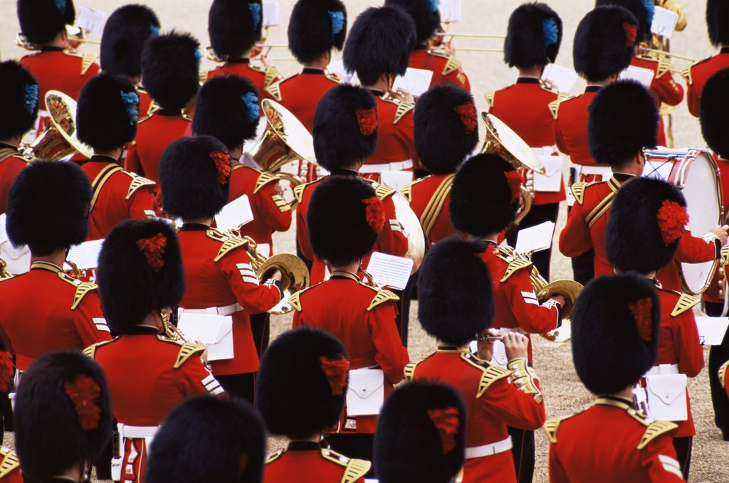 High angle view of the British Royal Guard military band, Changing of the Guard, London, England : Stock Photo