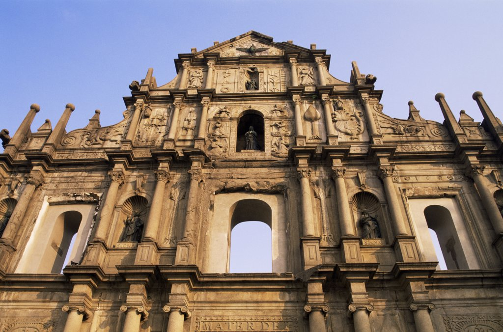 Stock Photo: 442-10330 Low angle view of a cathedral, St. Paul's Cathedral, Macao, China