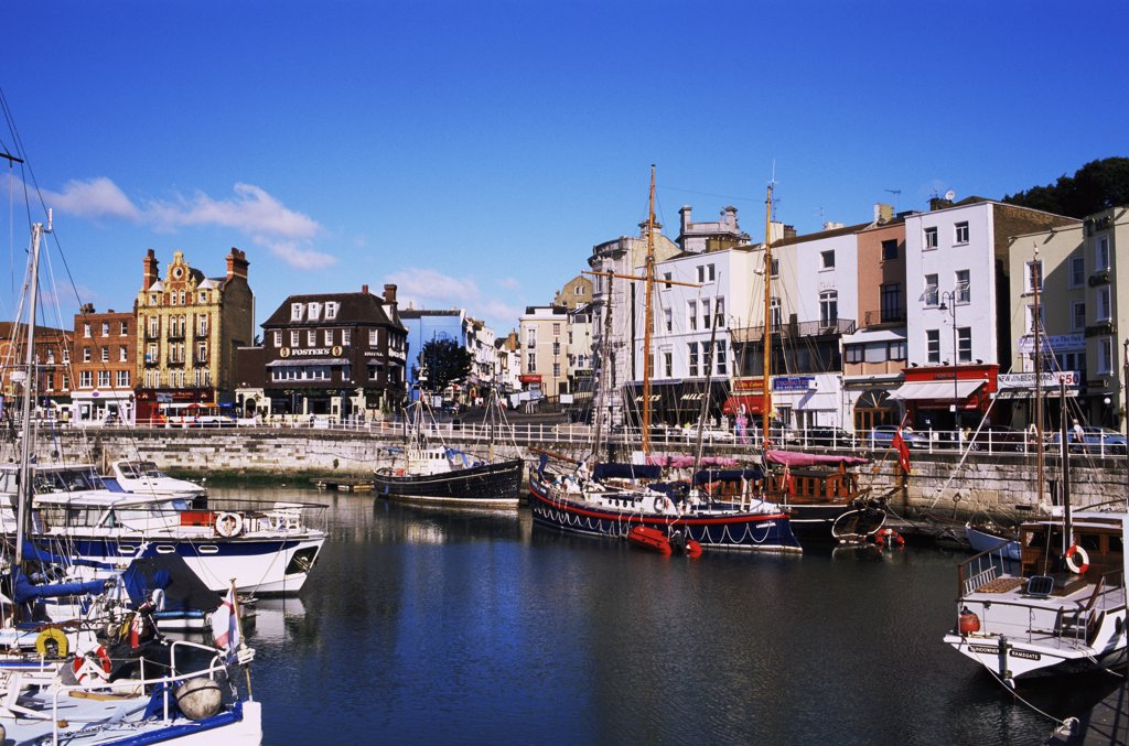 Boats docked at a harbor, Ramsgate, Kent, England : Stock Photo