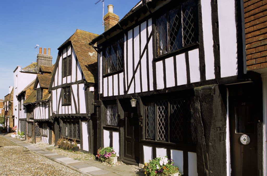Houses along a street, Rye, Sussex, England : Stock Photo