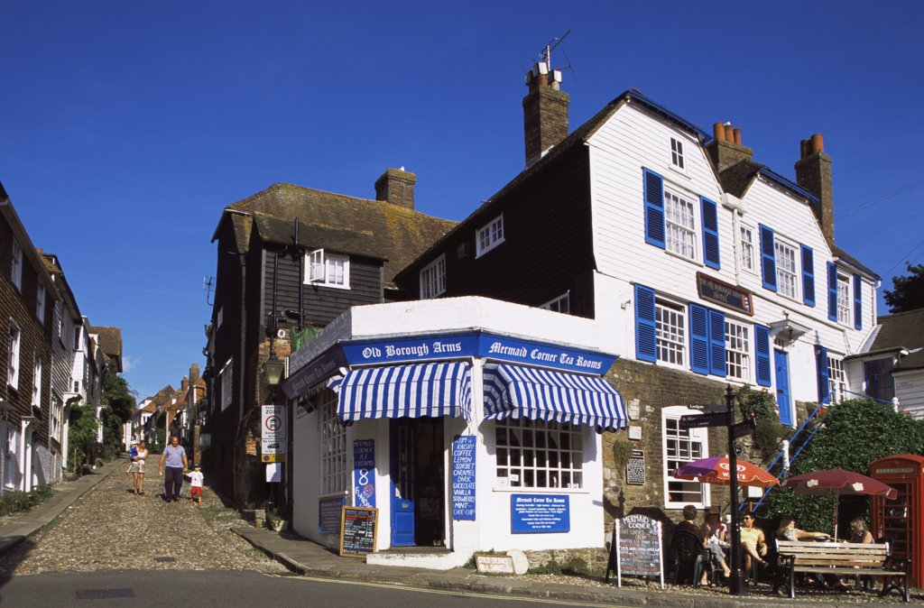 Stock Photo: 442-10365 Houses along a street, Mermaid Street, Rye, Sussex, England