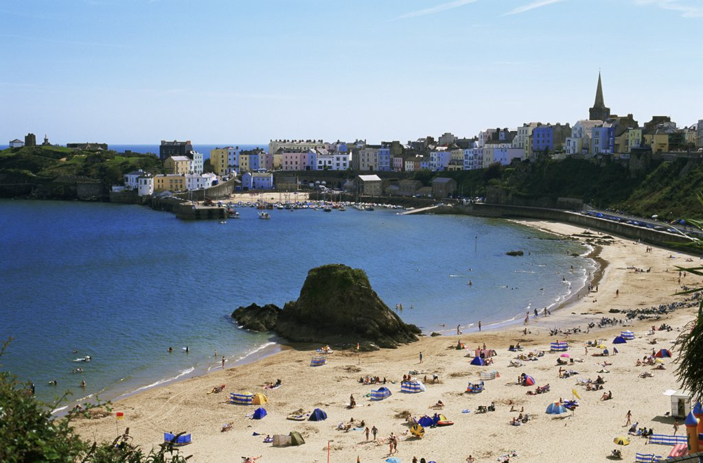 High angle view of tourists on the beach, Tenby, Pembrokeshire, Wales : Stock Photo