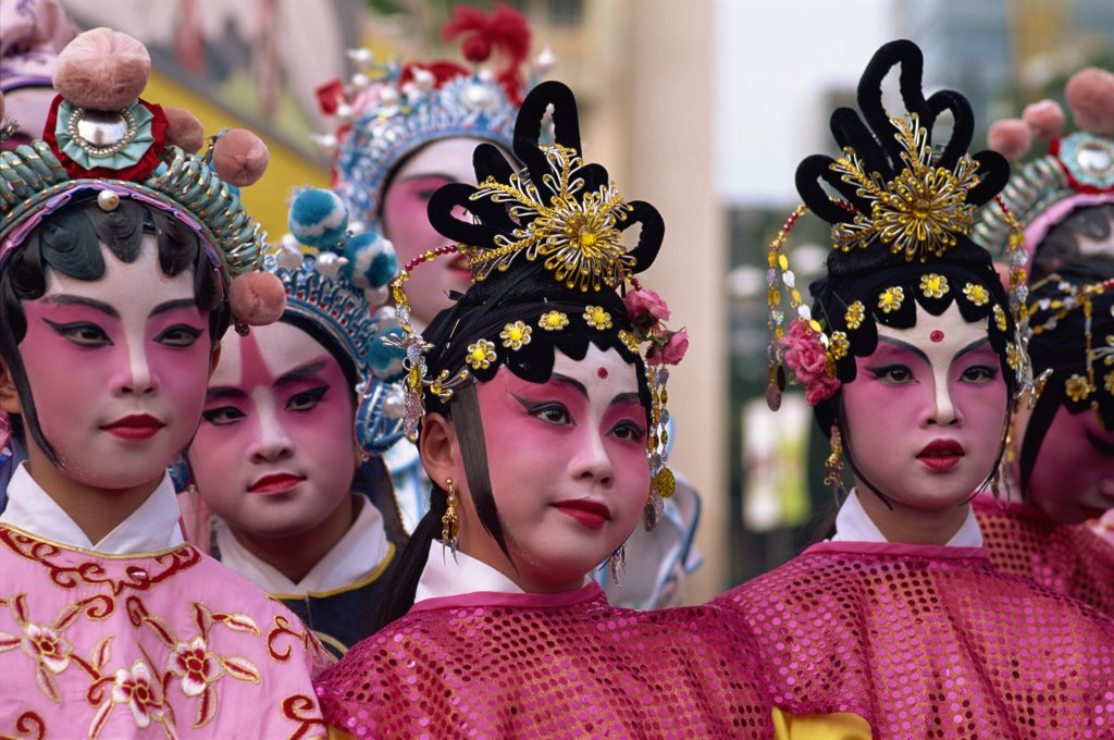 Portrait of five female Chinese opera performers, Hong Kong, China : Stock Photo
