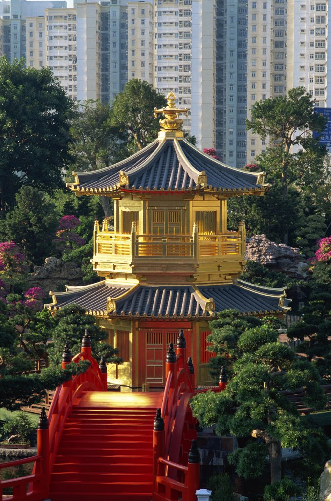 Stock Photo: 442-10435 High angle view of a pavilion in a garden, Pavilion of Absolute Perfection, Nan Lian Garden, Diamond Hill, Kowloon, Hong Kong, China