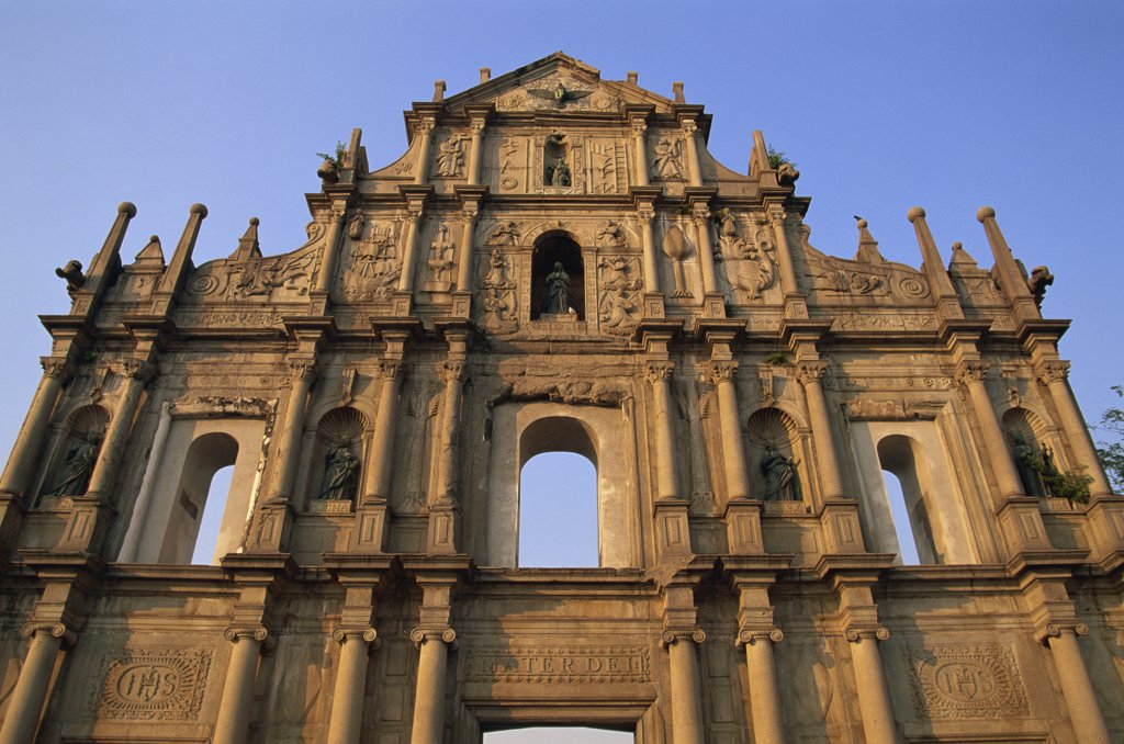 Stock Photo: 442-10473 Low angle view of a church, St. Paul's Church, Macao, China