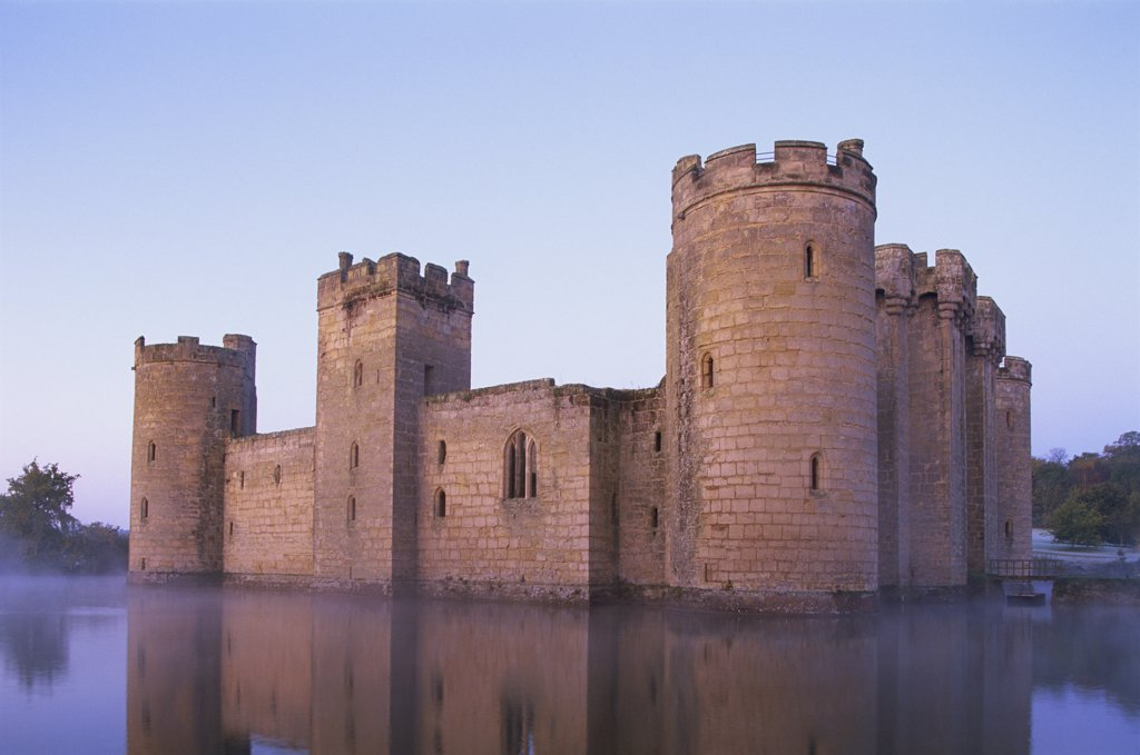 Stock Photo: 442-10535A Reflection of a castle in water, Bodiam Castle, East Sussex, England