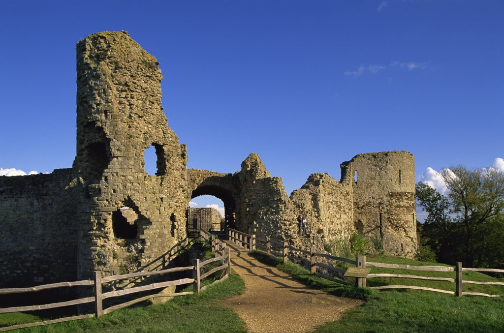 Stock Photo: 442-10541A Path leading toward the entrance of a castle, Pevensey Castle, East Sussex, England