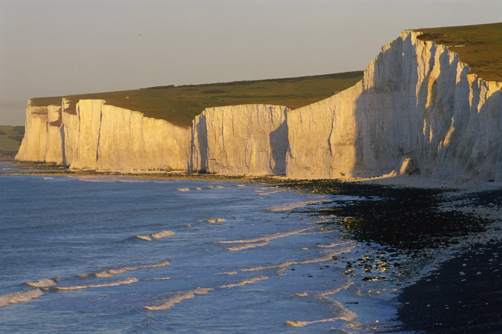 Limestone formation on the beach, Seven Sisters, Beachy Head, Eastbourne, East Sussex, England : Stock Photo