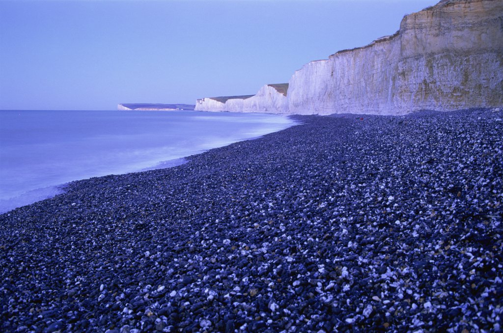 Stock Photo: 442-10594C Limestone formation on  the beach, Seven Sisters, Beachy Head, Eastbourne, East Sussex, England