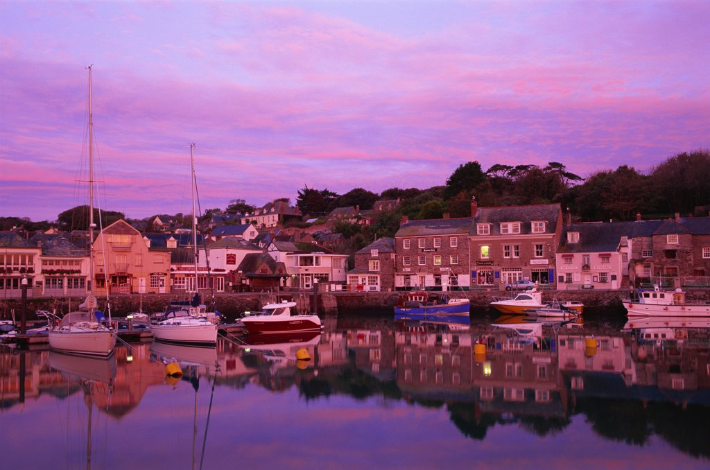 Stock Photo: 442-10605B Buildings at the waterfront, Padstow, Cornwall, England