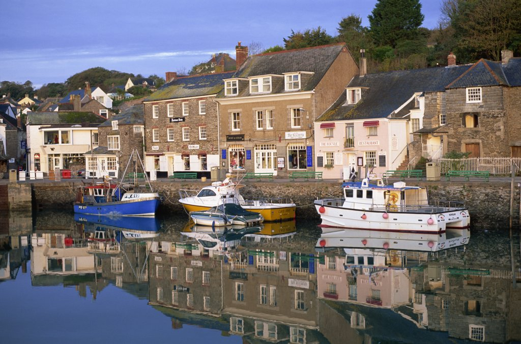 Stock Photo: 442-10606A Buildings at the waterfront, Padstow, Cornwall, England