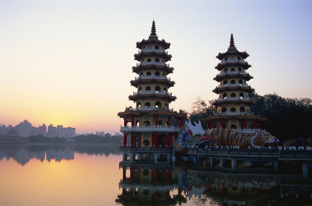 Taiwan,Kaohsiung,Lotus Lake,Dragon and Tiger Pagodas : Stock Photo