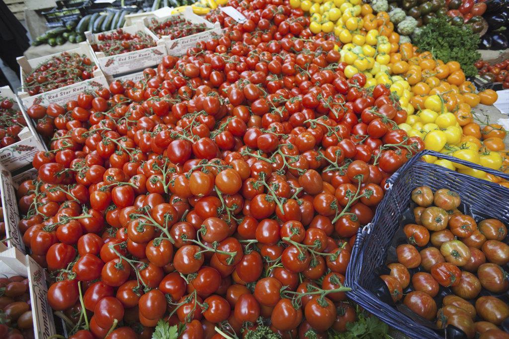Stock Photo: 442-10824 England, London, Southwark, Borough Market, Vegetable Stall, Tomatoe Display