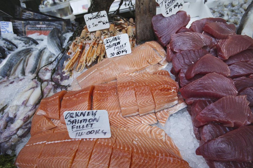 England, London, Southwark, Borough Market, Seafood Stall, Fish Display : Stock Photo