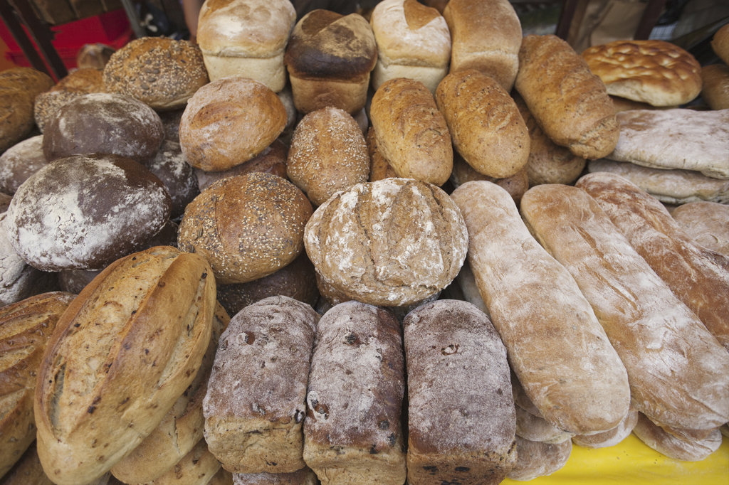 Stock Photo: 442-10831 England, London, Southwark, Borough Market, Bakery, Bread Display