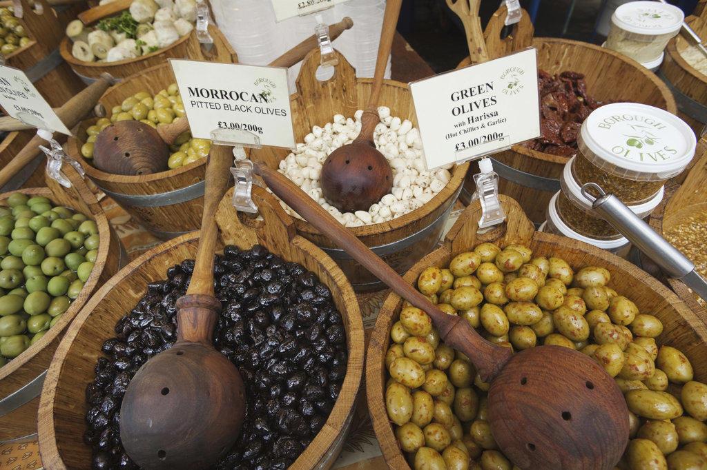 England, London, Southwark, Borough Market, Olive Stall, Olive Display : Stock Photo
