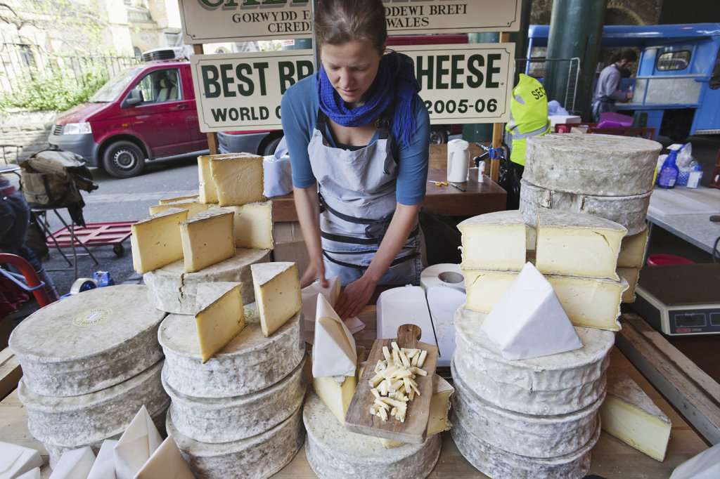 England, London, Southwark, Borough Market, Cheese Stall, Cheese Display : Stock Photo