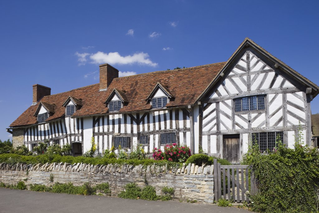 Stock Photo: 442-10908 Facade of a house, Mary Arden's House, Wilmcote, Stratford-Upon-Avon, Warwickshire, England