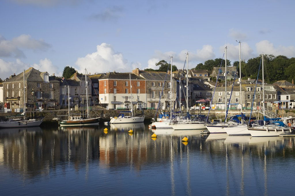Boats moored at a harbor, Padstow, Cornwall, England : Stock Photo