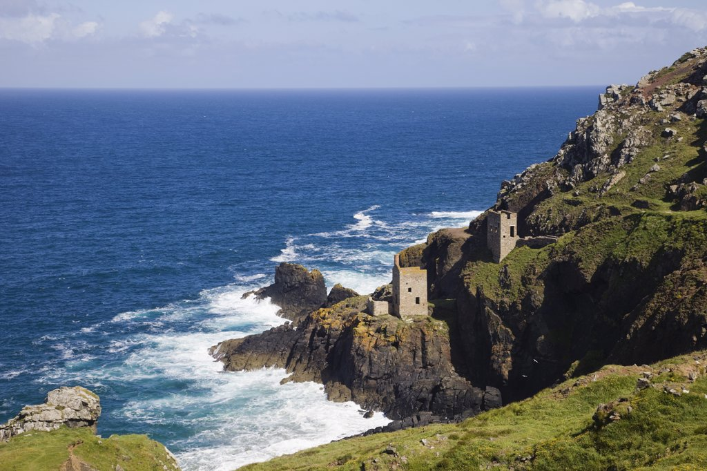 Stock Photo: 442-10923 Tin mines at the coast, Botallack Mine, Cornish Coast, Cornwall, England