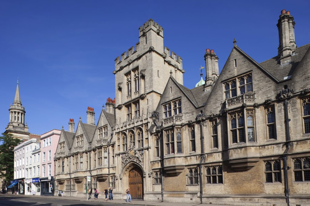 Facade of a church, High Street, University Church Of St Mary The Virgin, Oxford University, Oxford, Oxfordshire, England : Stock Photo