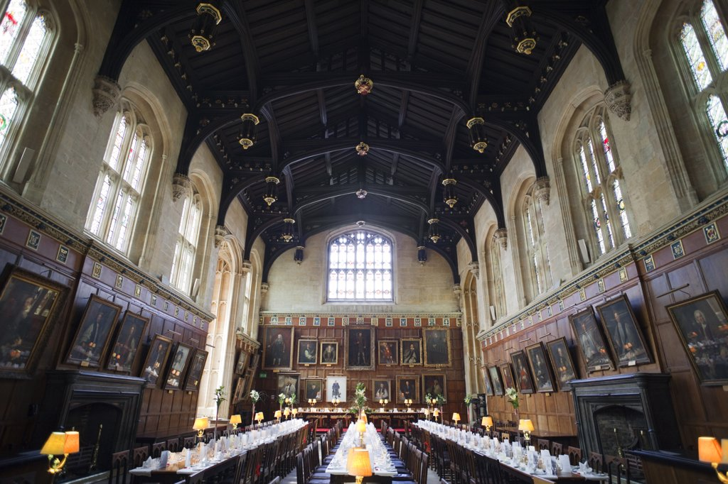 Interiors of a dining hall, Christ Church, Oxford University, Oxford, Oxfordshire, England : Stock Photo