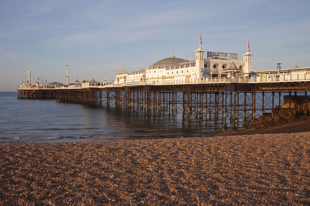 Stock Photo: 442-11037 Pier on the beach, Palace Pier, British Isles, Brighton, Sussex, England