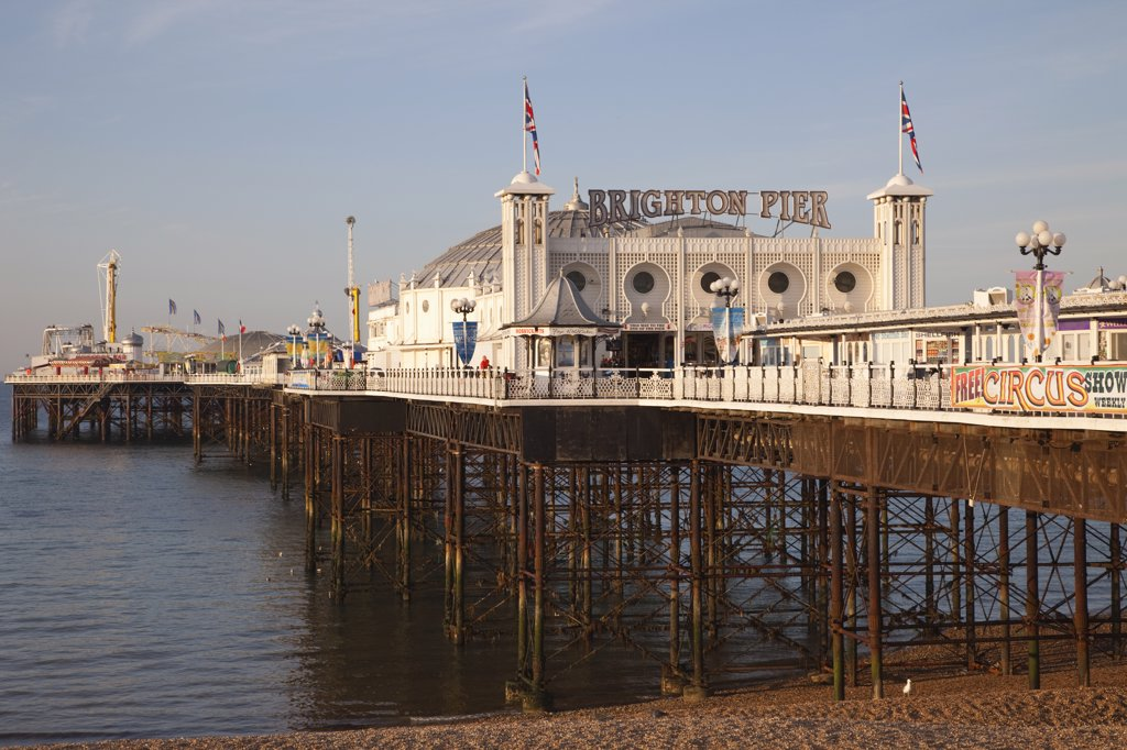 Pier on the beach, Palace Pier, British Isles, Brighton, Sussex, England : Stock Photo