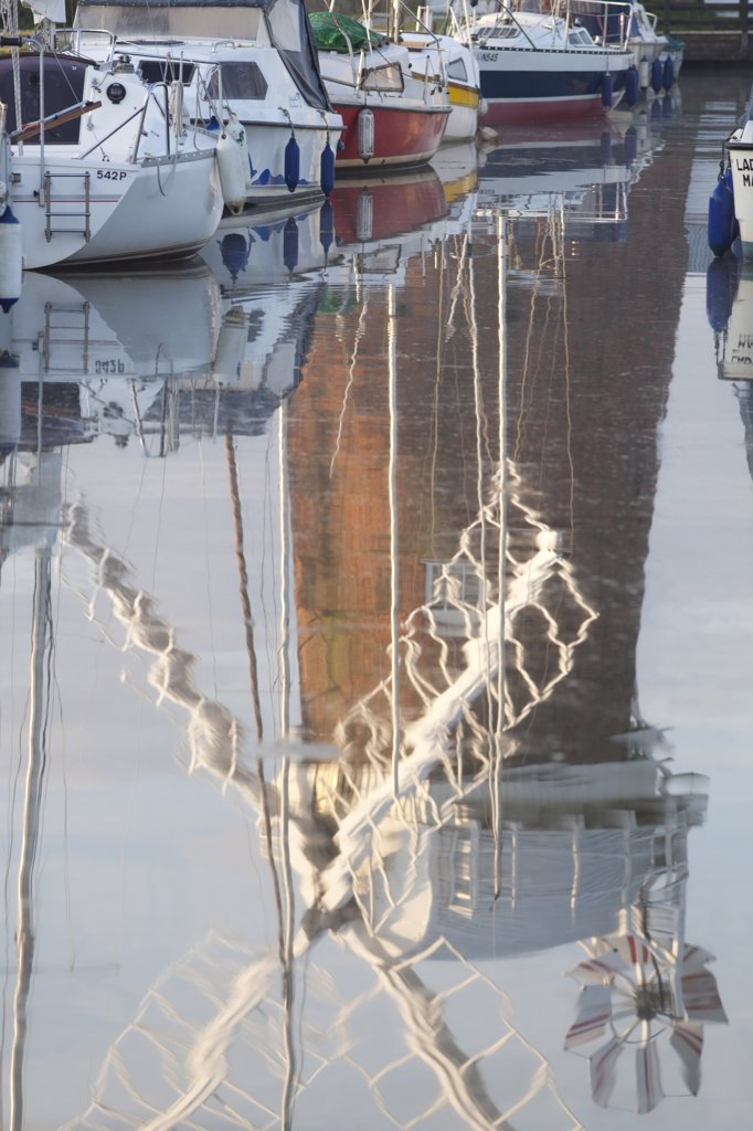 Stock Photo: 442-11042A Reflection of drainage windmill in the river, Horsey Windpump, Horsey, Norfolk, East Anglia, England