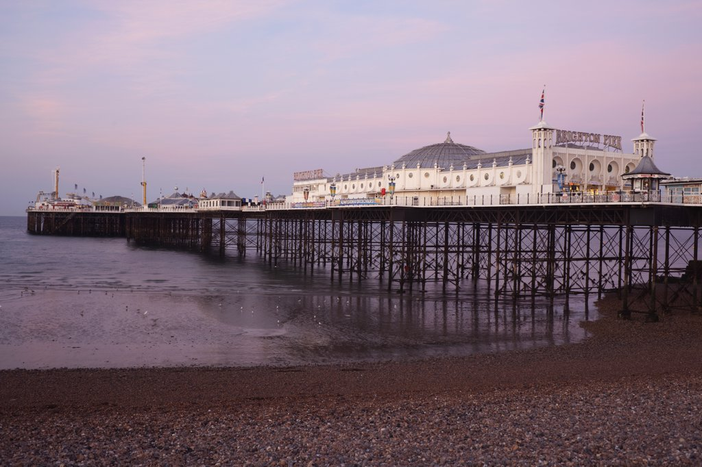 Stock Photo: 442-11047A Pier on the beach, Palace Pier, British Isles, Brighton, Sussex, England