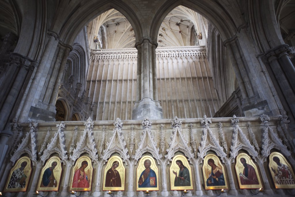 Stock Photo: 442-11080B 20th century Icons by Sergei Fyodorov in a cathedral, Winchester Cathedral, Winchester, Hampshire, England