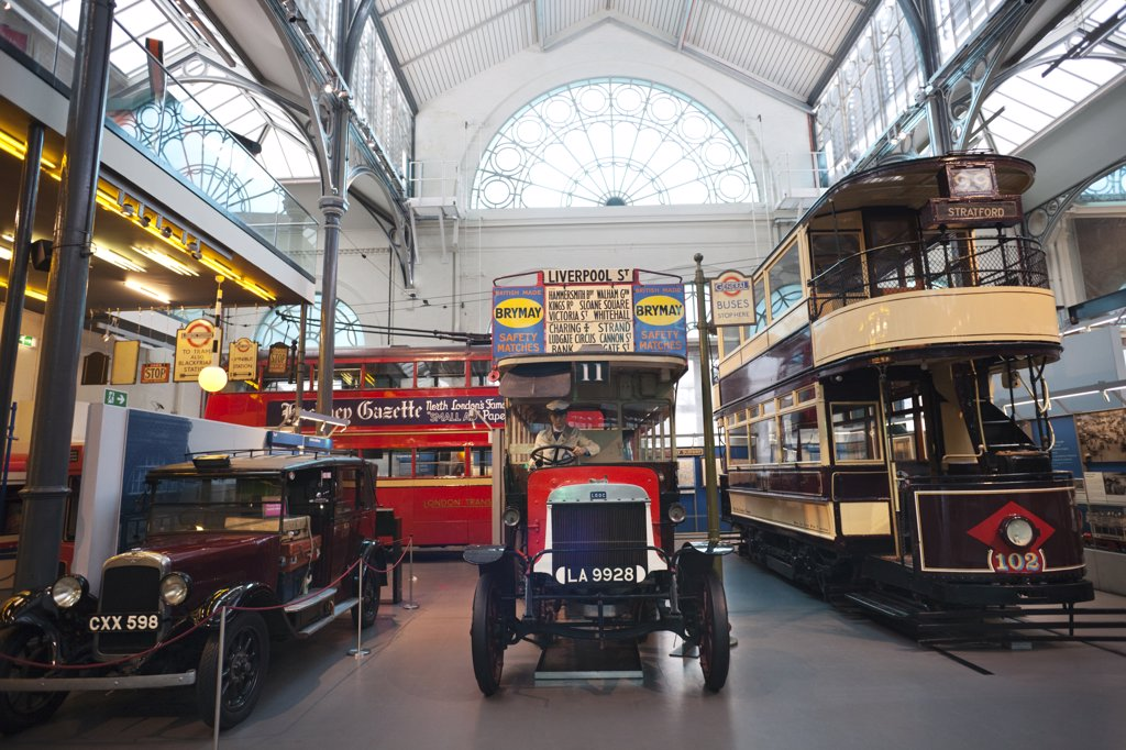 Buses in a museum, London Transport Museum, Covent Garden, London, England : Stock Photo