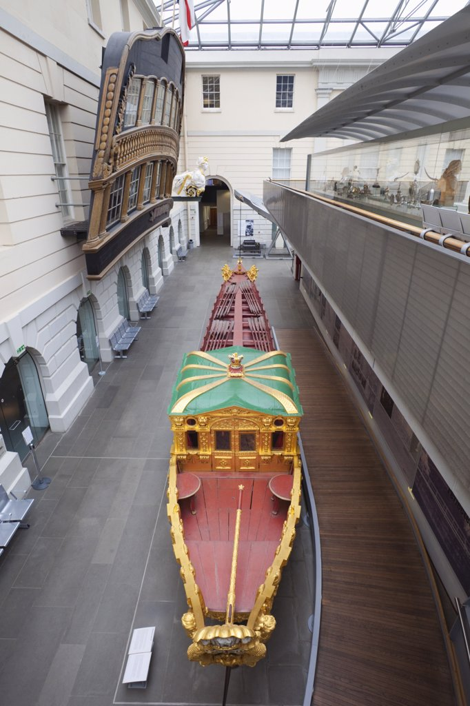 Barge in a museum, Prince Frederick's Barge, Greenwich, London, England : Stock Photo